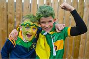 10 October 2021; Dunloy supporters, Iarfhlaith O'Kane, age 9, left, and Pearse McMullan, age 10, before the Antrim County Senior Club Hurling Championship Final match between Dunloy and O'Donovan Rossa at Corrigan Park in Belfast. Photo by Ramsey Cardy/Sportsfile