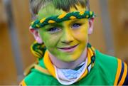 10 October 2021; Dunloy supporter Iarfhlaith O'Kane, age 9, before the Antrim County Senior Club Hurling Championship Final match between Dunloy and O'Donovan Rossa at Corrigan Park in Belfast. Photo by Ramsey Cardy/Sportsfile
