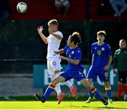 10 October 2021; Oliwier Wojciechowski of Poland in action against Marc Torne Da Silva of Andorra during the UEFA U17 Championship Qualifying Round Group 5 match between Poland and Andorra at The Mardyke in Cork. Photo by Eóin Noonan/Sportsfile