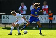10 October 2021; Bernat Arderiu Vilanova of Andorra in action against Jakub Staniszewski of Poland during the UEFA U17 Championship Qualifying Round Group 5 match between Poland and Andorra at The Mardyke in Cork. Photo by Eóin Noonan/Sportsfile