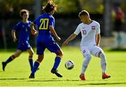 10 October 2021; Oliwier Wojciechowski of Poland in action against Bernat Arderiu Vilanova of Andorra during the UEFA U17 Championship Qualifying Round Group 5 match between Poland and Andorra at The Mardyke in Cork. Photo by Eóin Noonan/Sportsfile