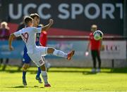 10 October 2021; Maksymilian Dziuba of Poland shoots to score his side's first goal during the UEFA U17 Championship Qualifying Round Group 5 match between Poland and Andorra at The Mardyke in Cork. Photo by Eóin Noonan/Sportsfile