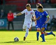 10 October 2021; Oliwier Wojciechowski of Poland in action against Gerard Sanchez Navarro of Andorra during the UEFA U17 Championship Qualifying Round Group 5 match between Poland and Andorra at The Mardyke in Cork. Photo by Eóin Noonan/Sportsfile