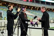 9 October 2021; Republic of Ireland manager Stephen Kenny speaks to Kieran Crowley, FAI communications executive, while being filmed by FAI videographer Matty Turnbull for FAI TV before the FIFA World Cup 2022 qualifying group A match between Azerbaijan and Republic of Ireland at the Olympic Stadium in Baku, Azerbaijan. Photo by Stephen McCarthy/Sportsfile