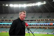 9 October 2021; Republic of Ireland manager Stephen Kenny speaks to RTÉ before the FIFA World Cup 2022 qualifying group A match between Azerbaijan and Republic of Ireland at the Olympic Stadium in Baku, Azerbaijan. Photo by Stephen McCarthy/Sportsfile