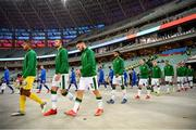 9 October 2021; Republic of Ireland players, from left, Gavin Bazunu, Shane Duffy, Matt Doherty and Andrew Omobamidele walk out before the FIFA World Cup 2022 qualifying group A match between Azerbaijan and Republic of Ireland at the Olympic Stadium in Baku, Azerbaijan. Photo by Stephen McCarthy/Sportsfile