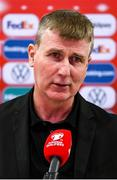 9 October 2021; Republic of Ireland manager Stephen Kenny speaks to RTÉ following the FIFA World Cup 2022 qualifying group A match between Azerbaijan and Republic of Ireland at the Olympic Stadium in Baku, Azerbaijan. Photo by Stephen McCarthy/Sportsfile