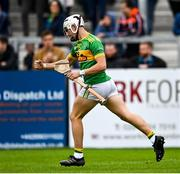 10 October 2021; Sean Elliott of Dunloy celebrates after scoring his side's first goal during the Antrim County Senior Club Hurling Championship Final match between Dunloy and O'Donovan Rossa at Corrigan Park in Belfast. Photo by Ramsey Cardy/Sportsfile