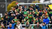 10 October 2021; Dunloy supporters celebrate their side's first goal during the Antrim County Senior Club Hurling Championship Final match between Dunloy and O'Donovan Rossa at Corrigan Park in Belfast. Photo by Ramsey Cardy/Sportsfile