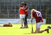 10 October 2021; James Stephen's manager Séamus Dwyer celebrates with Eoin Larkin after their side's victory in the Kilkenny County Senior Hurling Championship quarter-final match between James Stephen's and Dicksboro at UPMC Nowlan Park in Kilkenny. Photo by Piaras Ó Mídheach/Sportsfile