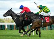 10 October 2021; Ontheropes, left, with Sean O'Keeffe up, on their way to winning the JT McNamara Ladbrokes Munster National Handicap Steeplechase, from second place A Wave Of The Sea, with Simon Torrens up, at Limerick Racecourse in Patrickswell, Limerick. Photo by Seb Daly/Sportsfile