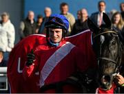 10 October 2021; Jockey Sean O'Keeffe in the winners enclosure after winning the JT McNamara Ladbrokes Munster National Handicap Steeplechase on Ontheropes at Limerick Racecourse in Patrickswell, Limerick. Photo by Seb Daly/Sportsfile