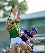 10 October 2021; Eoin McFerran of Dunloy in action against Déaglan Murphy of O'Donovan Rossa during the Antrim County Senior Club Hurling Championship Final match between Dunloy and O'Donovan Rossa at Corrigan Park in Belfast. Photo by Ramsey Cardy/Sportsfile