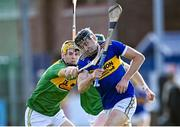 10 October 2021; Aodhán O'Brien of O'Donovan Rossa is tackled by Eoin McFerran of Dunloy during the Antrim County Senior Club Hurling Championship Final match between Dunloy and O'Donovan Rossa at Corrigan Park in Belfast. Photo by Ramsey Cardy/Sportsfile