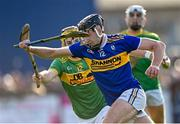 10 October 2021; Aodhán O'Brien of O'Donovan Rossa in action against Eoin McFerran of Dunloy during the Antrim County Senior Club Hurling Championship Final match between Dunloy and O'Donovan Rossa at Corrigan Park in Belfast. Photo by Ramsey Cardy/Sportsfile