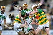 10 October 2021; Eoin Cody of Ballyhale Shamrocks is tackled by Daragh Wafer, left, and Conor Murphy of Bennettsbridge during the Kilkenny County Senior Hurling Championship quarter-final match between Bennettsbridge and Ballyhale Shamrocks at UPMC Nowlan Park in Kilkenny. Photo by Piaras Ó Mídheach/Sportsfile