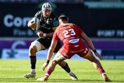 10 October 2021; Fineen Wycherley of Munster in action against Johnny Williams of Scarlets during the United Rugby Championship match between Scarlets and Munster at Parc Y Scarlets in Llanelli, Wales. Photo by Ben Evans/Sportsfile