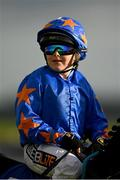 10 October 2021; Kian Tubs McNally, aged 11, on Where It Began before going out to win the Curragh Irish Pony Racing Association Derby Division 2 at The Curragh Racecourse in Kildare. Photo by Harry Murphy/Sportsfile
