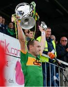 10 October 2021; Dunloy captain Paul Shiels lifts the cup following his side's victory in the Antrim County Senior Club Hurling Championship Final match between Dunloy and O'Donovan Rossa at Corrigan Park in Belfast. Photo by Ramsey Cardy/Sportsfile