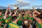 10 October 2021; Dunloy players celebrate after the Antrim County Senior Club Hurling Championship Final match between Dunloy and O'Donovan Rossa at Corrigan Park in Belfast. Photo by Ramsey Cardy/Sportsfile
