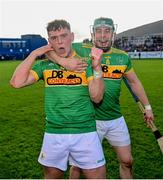10 October 2021; Eoin O'Neill, left, and Kevin Molloy of Dunloy celebrate following the Antrim County Senior Club Hurling Championship Final match between Dunloy and O'Donovan Rossa at Corrigan Park in Belfast. Photo by Ramsey Cardy/Sportsfile