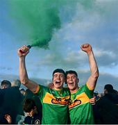 10 October 2021; Chrissy McMahon, left, and Eoin O'Neill of Dunloy celebrate following the Antrim County Senior Club Hurling Championship Final match between Dunloy and O'Donovan Rossa at Corrigan Park in Belfast. Photo by Ramsey Cardy/Sportsfile