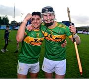 10 October 2021; Sean Elliott, left, and Aaron Crawford of Dunloy celebrate following the Antrim County Senior Club Hurling Championship Final match between Dunloy and O'Donovan Rossa at Corrigan Park in Belfast. Photo by Ramsey Cardy/Sportsfile