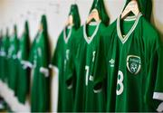 10 October 2021; Republic of Ireland jerseys hang in the dressing room before the UEFA U17 Championship Qualifying Round Group 5 match between Republic of Ireland and North Macedonia at Turner's Cross in Cork. Photo by Eóin Noonan/Sportsfile