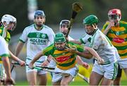 10 October 2021; Daragh Wafer of Bennettsbridge is tackled by Eoin Cody of Ballyhale Shamrocks during the Kilkenny County Senior Hurling Championship quarter-final match between Bennettsbridge and Ballyhale Shamrocks at UPMC Nowlan Park in Kilkenny. Photo by Piaras Ó Mídheach/Sportsfile