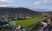 10 October 2021; An aerial view of match action, with Black Mountain in the background, during the Antrim County Senior Club Hurling Championship Final match between Dunloy and O'Donovan Rossa at Corrigan Park in Belfast. Photo by Ramsey Cardy/Sportsfile