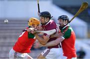 10 October 2021; Andy Gaffney of Dicksboro is tackled by Luke Murphy, left, and Diarmuid Cody of James Stephen's during the Kilkenny County Senior Hurling Championship quarter-final match between James Stephen's and Dicksboro at UPMC Nowlan Park in Kilkenny. Photo by Piaras Ó Mídheach/Sportsfile