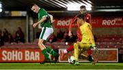 10 October 2021; Mark O'Mahony of Republic of Ireland backheals to score his side's second goal during the UEFA U17 Championship Qualifying Round Group 5 match between Republic of Ireland and North Macedonia at Turner's Cross in Cork. Photo by Eóin Noonan/Sportsfile
