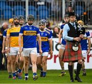 10 October 2021; O'Donovan Rossa captain Stephen Beatty leads his side in the pre-match parade before the Antrim County Senior Club Hurling Championship Final match between Dunloy and O'Donovan Rossa at Corrigan Park in Belfast. Photo by Ramsey Cardy/Sportsfile