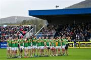 10 October 2021; Dunloy players, from left, Ronan Molloy, Conor Kinsella, Kevin Molloy, Kevin McKeague, Conal Cunning, Chrissy McMahon, Conor McKinley, Paul Shiels, Ryan McGarry, Aaron Crawford, Eoin O'Neill, Sean Elliott, Ryan Elliott, Eoin McFerran and Ronan Molloy before the Antrim County Senior Club Hurling Championship Final match between Dunloy and O'Donovan Rossa at Corrigan Park in Belfast. Photo by Ramsey Cardy/Sportsfile