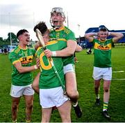 10 October 2021; Nicky McKeague, left, and Eoin O'Neill of Dunloy celebrate after the Antrim County Senior Club Hurling Championship Final match between Dunloy and O'Donovan Rossa at Corrigan Park in Belfast. Photo by Ramsey Cardy/Sportsfile