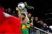 10 October 2021; Dunloy captain Paul Shiels lifts the trophy after the Antrim County Senior Club Hurling Championship Final match between Dunloy and O'Donovan Rossa at Corrigan Park in Belfast. Photo by Ramsey Cardy/Sportsfile