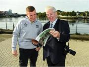 11 October 2021; Limerick hurler Peter Casey, left, with Sportsfile photographer Ray McManus in attendance at the launch of 'Back 2 Back' at Limerick City and County Council offices at Merchants Quay in Limerick. Photo by Diarmuid Greene/Sportsfile