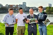 11 October 2021; Cllr Daniel Butler, Mayor of the City and County of Limerick, second from left, with Limerick hurlers, from left, Peter Casey, Darragh O'Donovan and William O'Donoghue in attendance at the launch of 'Back 2 Back' at Limerick City and County Council offices at Merchants Quay in Limerick. Photo by Diarmuid Greene/Sportsfile