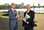 11 October 2021; Cllr Daniel Butler, Mayor of the City and County of Limerick, left, with Sportsfile photographer Ray McManus at the launch of 'Back 2 Back' at Limerick City and County Council offices at Merchants Quay in Limerick. Photo by Diarmuid Greene/Sportsfile