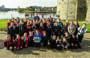11 October 2021; 5th class students from Our Lady Queen of Peace Primary School along with Limerick hurlers, back row, from left, Peter Casey, William O'Donoghue and Darragh O'Donovan with Cllr Daniel Butler, Mayor of the City and County of Limerick at the launch of 'Back 2 Back' at Limerick City and County Council offices at Merchants Quay in Limerick. Photo by Diarmuid Greene/Sportsfile