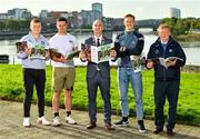 11 October 2021; Cllr Daniel Butler, Mayor of the City and County of Limerick, centre, with Limerick hurlers, from left, Peter Casey, Darragh O'Donovan and William O'Donoghue and Limerick county board treasurer Liam Bourke at the launch of 'Back 2 Back' at Limerick City and County Council offices at Merchants Quay in Limerick. Photo by Diarmuid Greene/Sportsfile