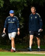 11 October 2021; Backs coach Felipe Contepomi and Head coach Leo Cullen during a Leinster Rugby squad training session at UCD in Dublin. Photo by Harry Murphy/Sportsfile