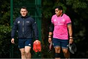 11 October 2021; Peter Dooley and Michael Ala'alatoa during a Leinster Rugby squad training session at UCD in Dublin. Photo by Harry Murphy/Sportsfile