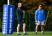 11 October 2021; Head coach Leo Cullen and Contact skills coach Denis Leamy during a Leinster Rugby squad training session at UCD in Dublin. Photo by Harry Murphy/Sportsfile