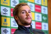 11 October 2021; Goalkeeper Caoimhin Kelleher during a Republic of Ireland press conference at the FAI Headquarters in Abbotstown, Dublin. Photo by Stephen McCarthy/Sportsfile