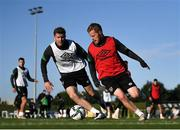 11 October 2021; Daryl Horgan and Nathan Collins, left, during a Republic of Ireland training session at the FAI National Training Centre in Abbotstown, Dublin. Photo by Stephen McCarthy/Sportsfile