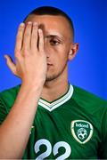 11 October 2021; Sam Curtis poses for a portrait during a Republic of Ireland U17's portrait session at Rochestown Park Hotel, Cork. Photo by Eóin Noonan/Sportsfile