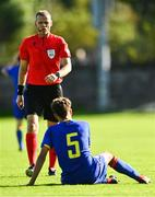 10 October 2021; Referee Sigurd Kringstad with Ricardo Teixera Pinto of Andorra during the UEFA U17 Championship Qualifying Round Group 5 match between Poland and Andorra at The Mardyke in Cork. Photo by Eóin Noonan/Sportsfile