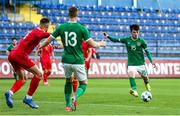 12 October 2021; Alexander Gilbert of Republic of Ireland shoots at goal during the UEFA European U21 Championship Qualifier Group F match between Montenegro and Republic of Ireland at Gradski Stadion Podgorica in Podgorica, Montenegro. Photo by Filip Roganovic/Sportsfile