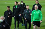 12 October 2021; Republic of Ireland manager Jim Crawford and his coaching staff before the UEFA European U21 Championship Qualifier Group F match between Montenegro and Republic of Ireland at Gradski Stadion Podgorica in Podgorica, Montenegro. Photo by Filip Roganovic/Sportsfile